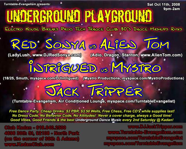Red Alien Invasion at Underground Playground